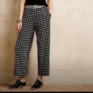 Anthropologie Elevenses Windowpane Linen Culottes